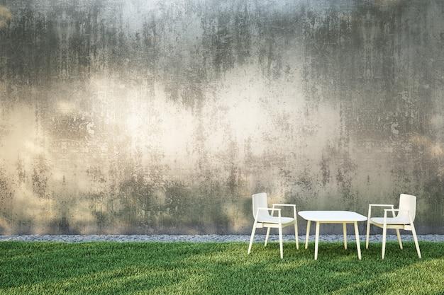 Dining seating in an outdoor garden Premium Photo