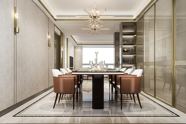 Dining set in modern luxury dining room