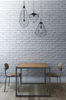 Dining set with brick wall and modern chandelier. 3d rendering