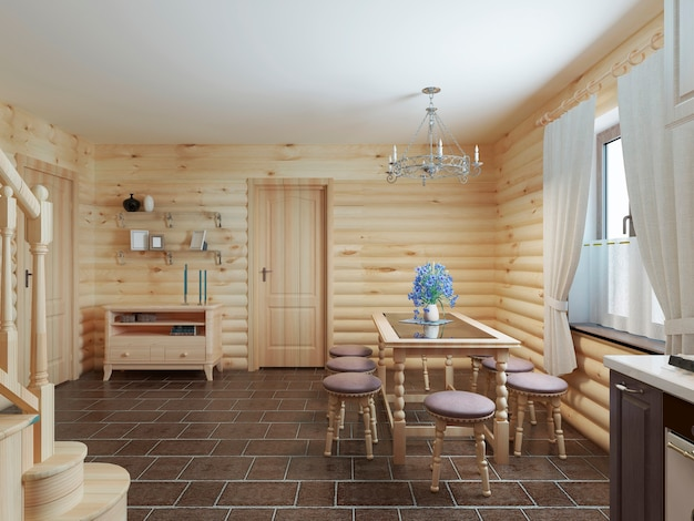 Dining table and chairs by the window in the interior of a log style