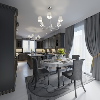 Dining table in classic styles on the background white wall, black furniture. 3d rendering