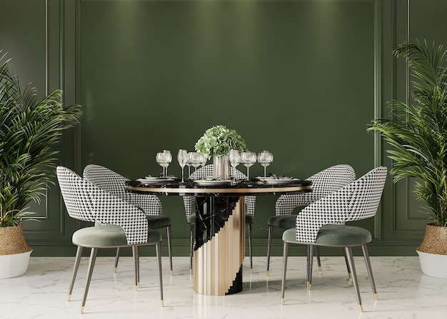 Dining table in front of the green wall