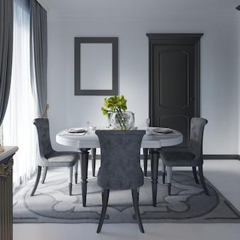 背景の白い壁、黒い家具にクラシックなスタイルのダイニングテーブル。 3dレンダリング