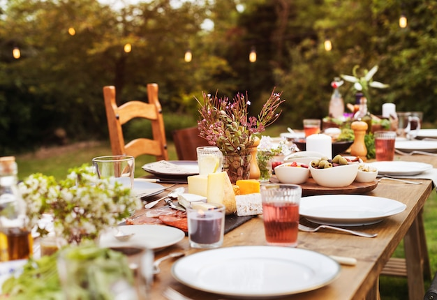 Dining table setting outdoors concept