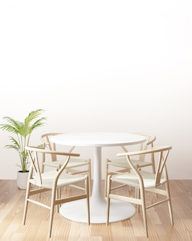 Dining table with empty wall, side view, 3d rendering