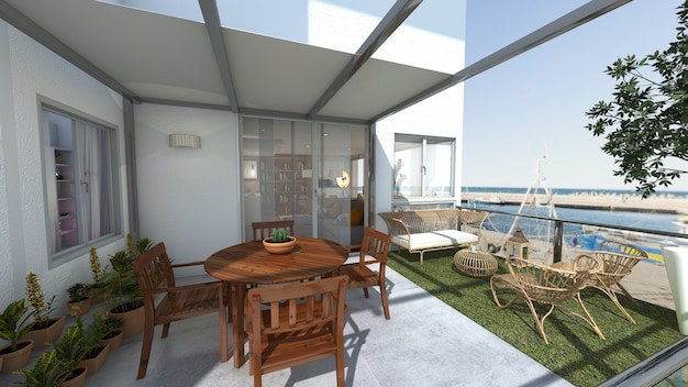 Dining terrace of house with sea views 3d render