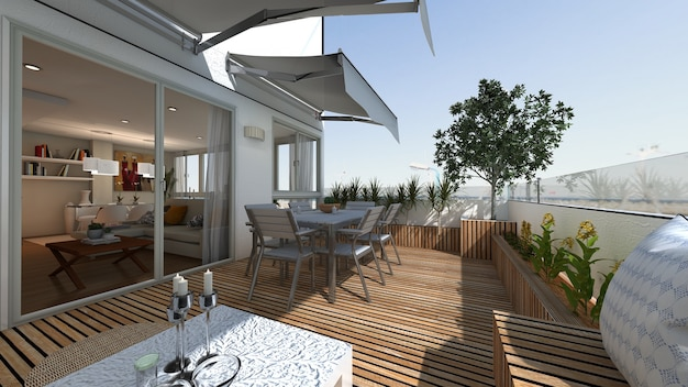 Dining terrace of modern style house with sea views 3d render