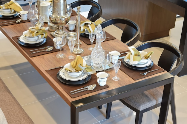 Dining wooden table and comfortable chairs