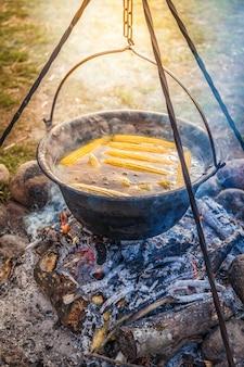 Приготовление ужина на природе, приготовление пищи на дровах