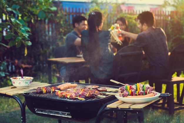 Dinner party, barbecue and roast pork