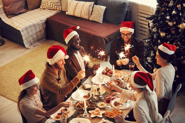 Dinner party on christmas