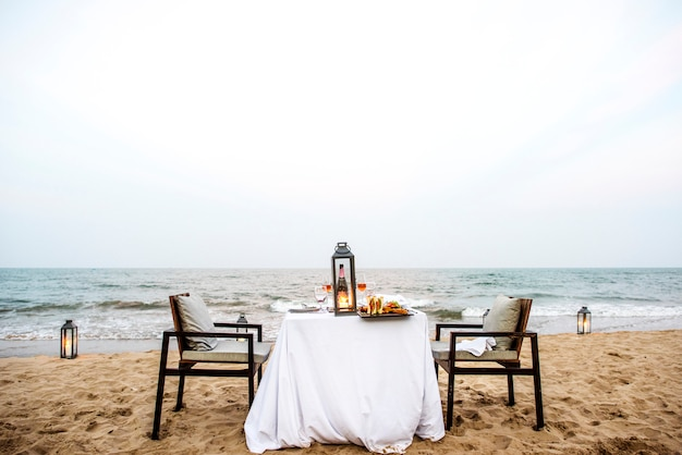 Dinner table by the sea