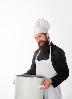 Dinnerware male chef cook holds big pot cook man in apron holds saucepan cooking pot saucepan