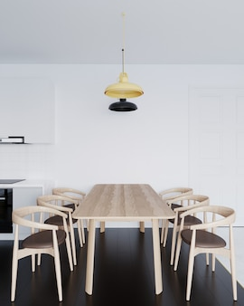 Dinning table and chair modern style in light kitchen
