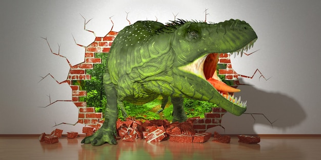 Dinosaur crawling out of a fault in the wall, 3d illustration