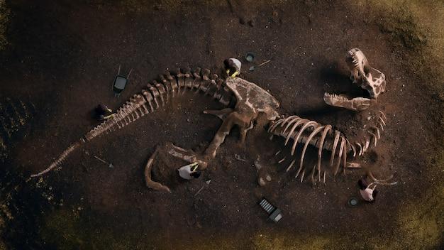 Окаменелости динозавра (tyrannosaurus rex), найденные археологами