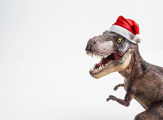공룡, 크리스마스 모자와 t- 렉스, 흰색 배경에 티라노 사우루스