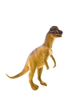 Dinosauro giocattolo su sfondo bianco