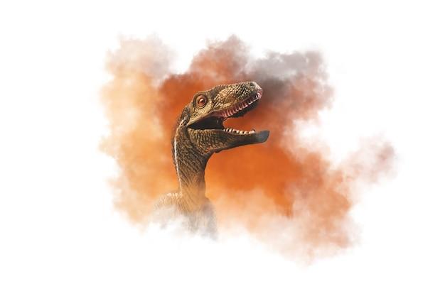 恐竜、煙の背景にヴェロキラプトル
