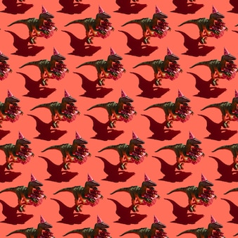 Dinosaur with gift box pattern on red background