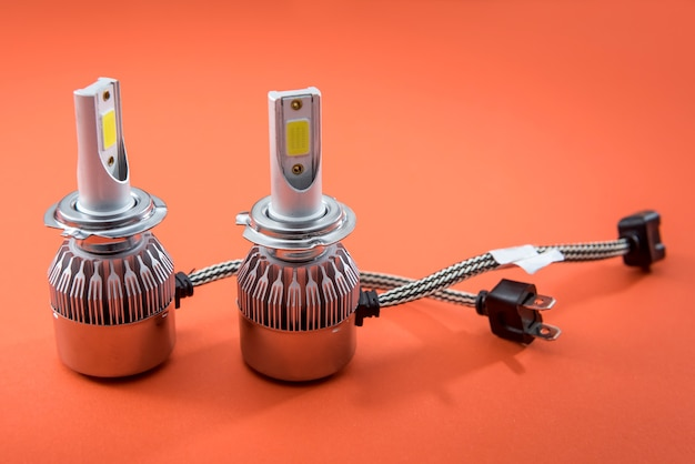 Diod electric light bulbs for repair car lamps. modern automotive lamps with wires and connecting elements. lighbulb equipment