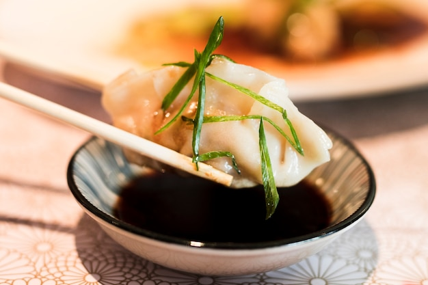 Dipping in soy sauce