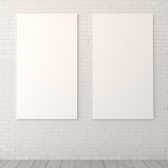 レンガの壁に空白のdiptych。