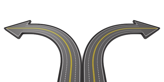 Direction of road isolated on white.3d illustration