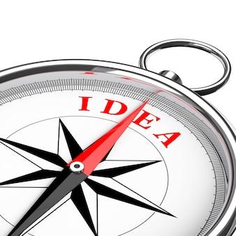 Направление к крупному плану компаса идеи концептуальному на белой предпосылке. 3d рендеринг