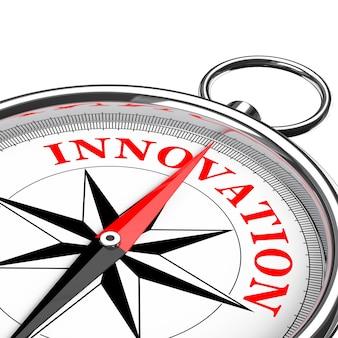 Направление к инновациям концептуальный крупный план компаса на белом фоне. 3d рендеринг