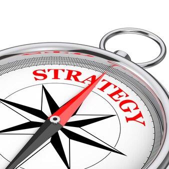 Направление к крупному плану концептуального компаса стратегии на белой предпосылке. 3d рендеринг
