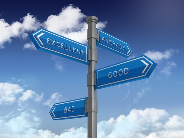 Directional sign with average excellent good bad words on blue sky