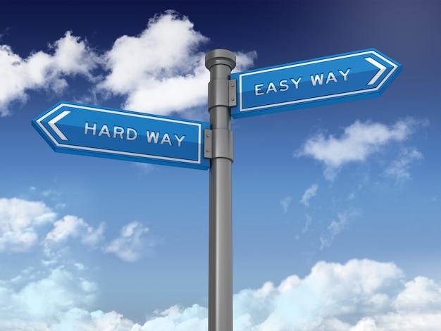 푸른 하늘에 하드 웨이 및 쉬운 방법 단어와 방향 표시