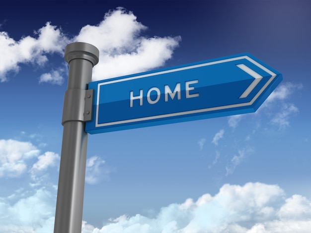 Directional sign with home word on blue sky