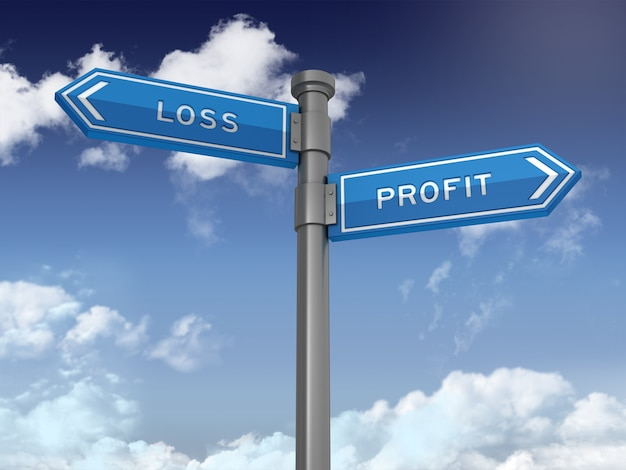 Directional sign with loss profit words on blue sky