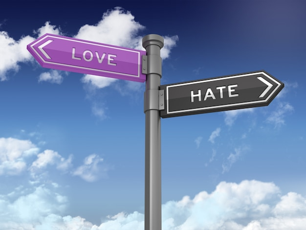 Directional sign with love hate words on blue sky