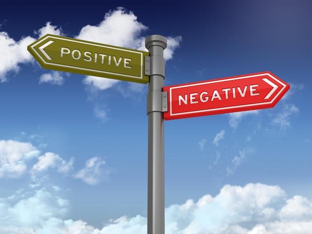 Направленный знак с положительными отрицательными словами на голубом небе