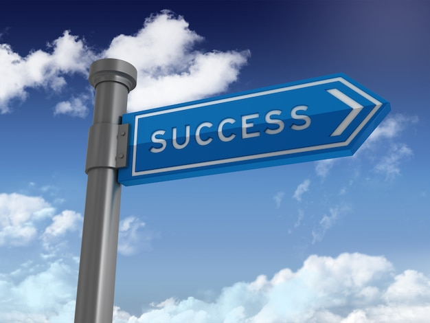 Directional sign with success word on blue sky