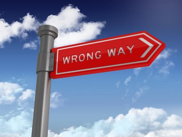 Направленный знак с неправильным словом на синем небе