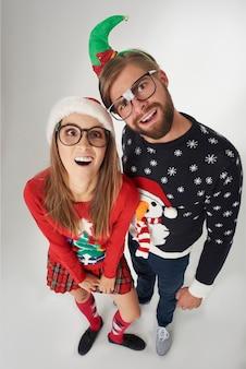 クリスマスカップルの真上