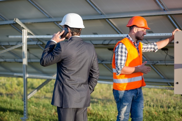 Director and engineer, solar panels construction.