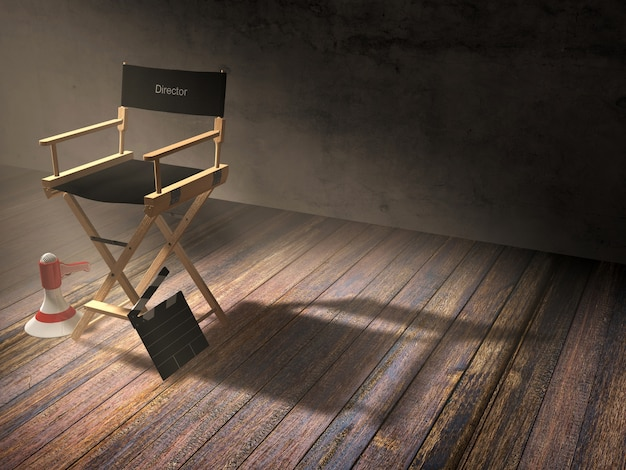 Director's chair with clapper board and megaphone in dark room scene with spotlight light