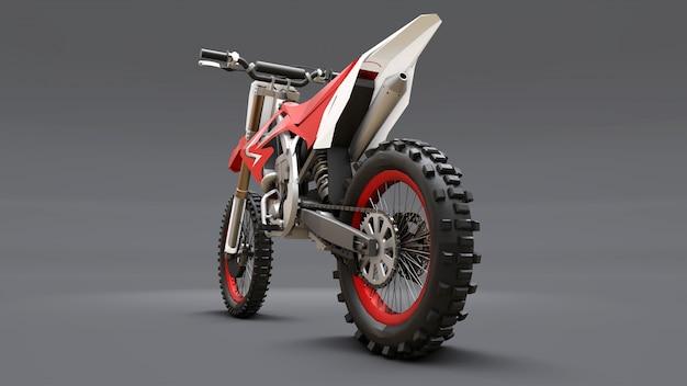 Красный и белый спортивный велосипед для кросса на сером фоне. гоночный спортбайк. современный суперкросс мотокросс dirt bike. 3d-рендеринг.