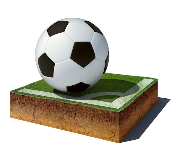 Dirt cube with soccer ball