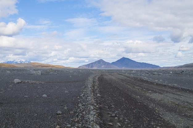 아이슬란드 중앙 고원을 따라 비포장 도로. 아이슬란드 풍경. f907 경로