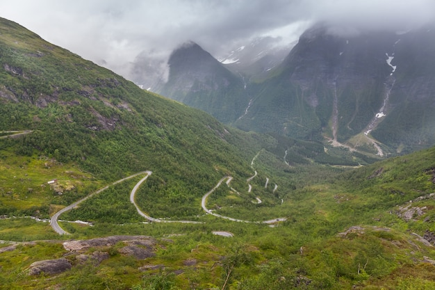 Dirt road passing in a valley between mountains in norway