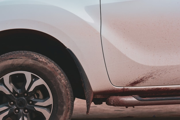 Dirty car side, wash service concept