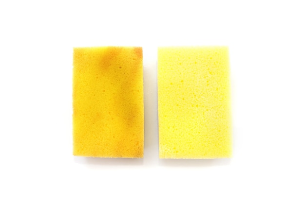 Dirty and clean kitchen sponge isolated on white.