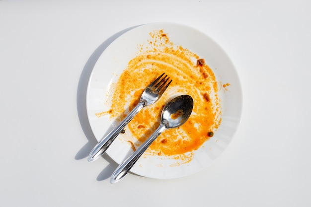 더러운 접시. 평면도