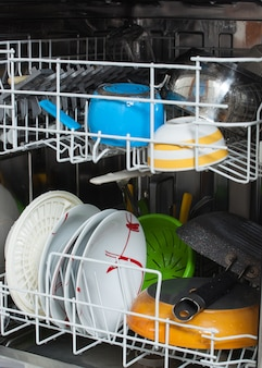 Dirty dishes loaded in a dishwasher